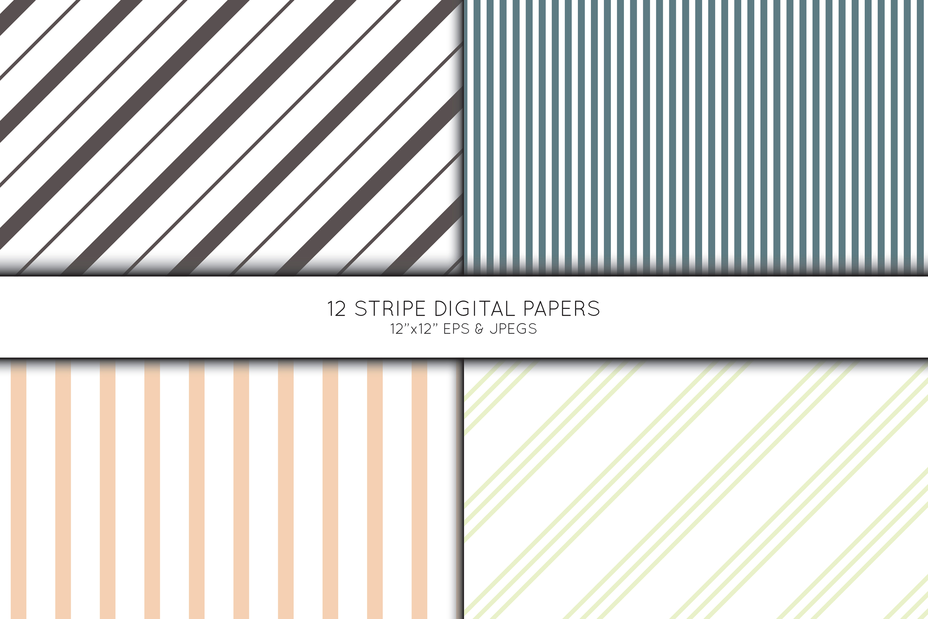 Stripe Digital Paper, Striped Scrapbook paper example image 2