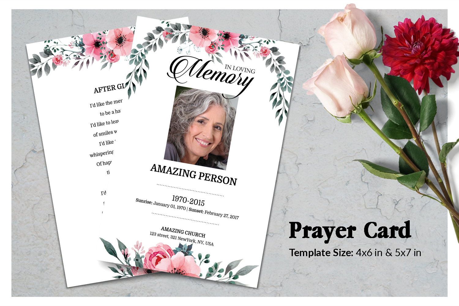 Pink Flower Funeral Prayer Card Template example image 1