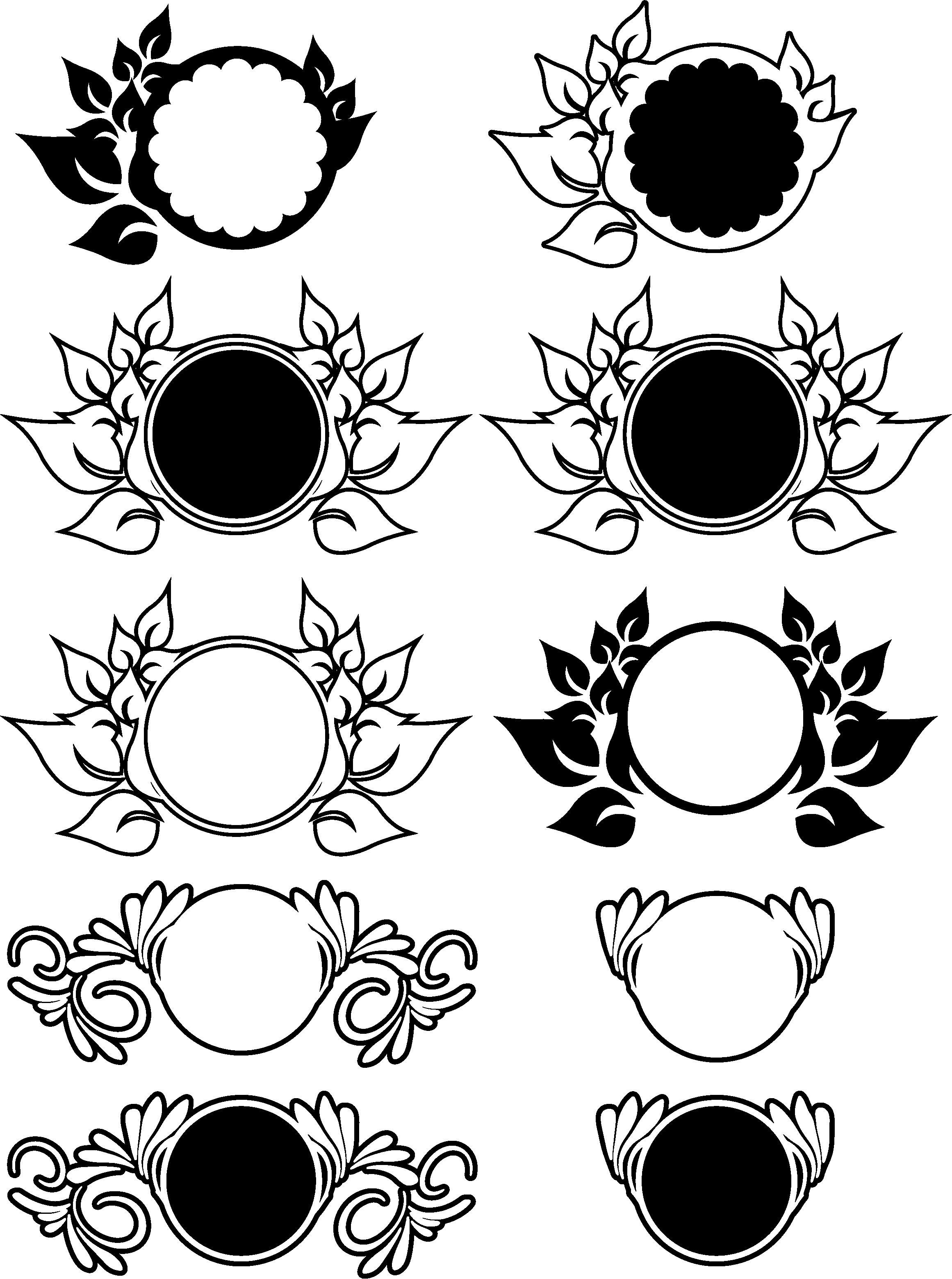 9 Floral Monograms Bundle SVG, DXF, JPG, PNG, DWG, AI, EPS example image 2