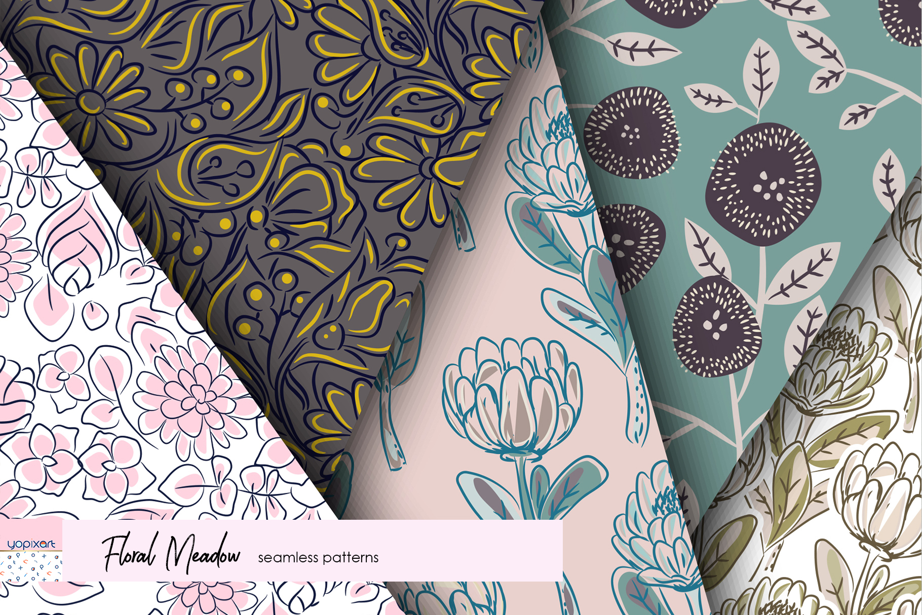 Floral Meadow - Seamless Patterns example image 6