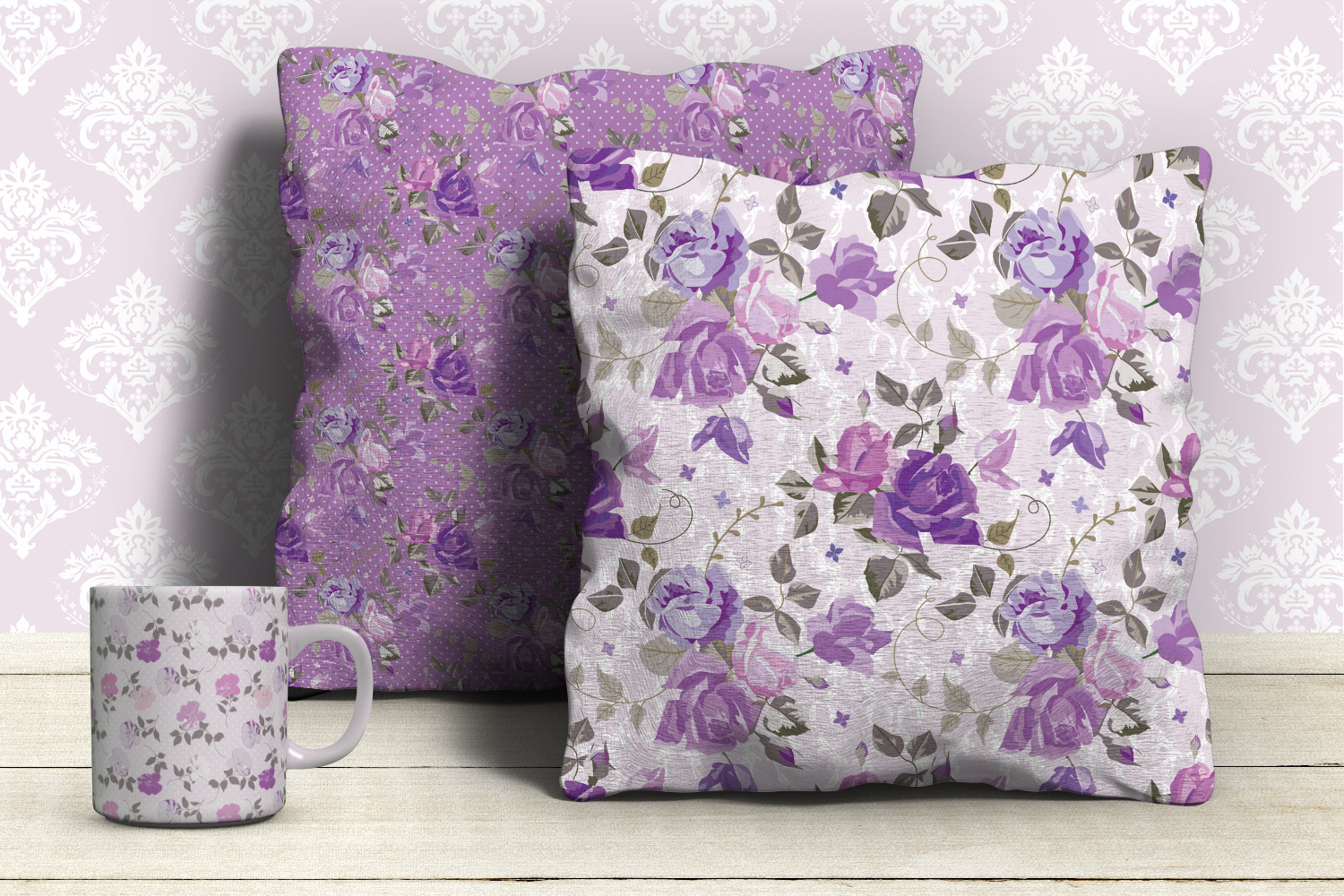 Shabby chic violet roses seamless digital paper pack example image 6