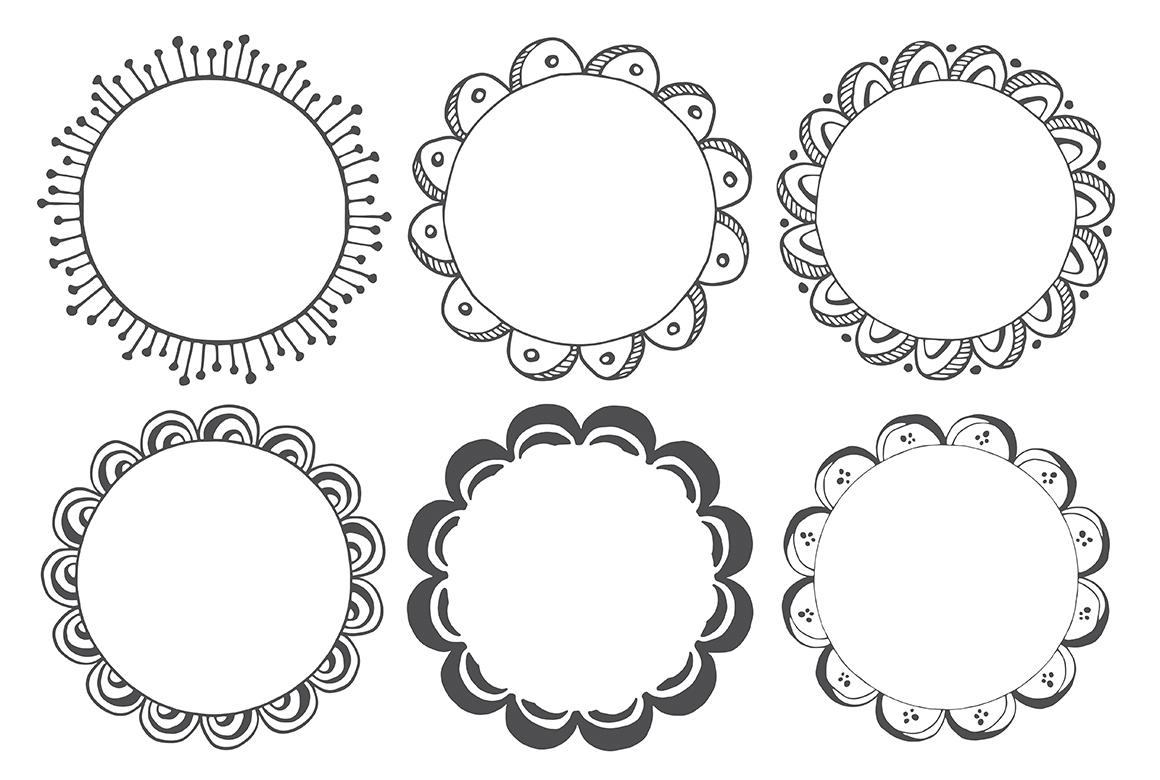 90 Hand Drawn Decorative Round Frames example image 11