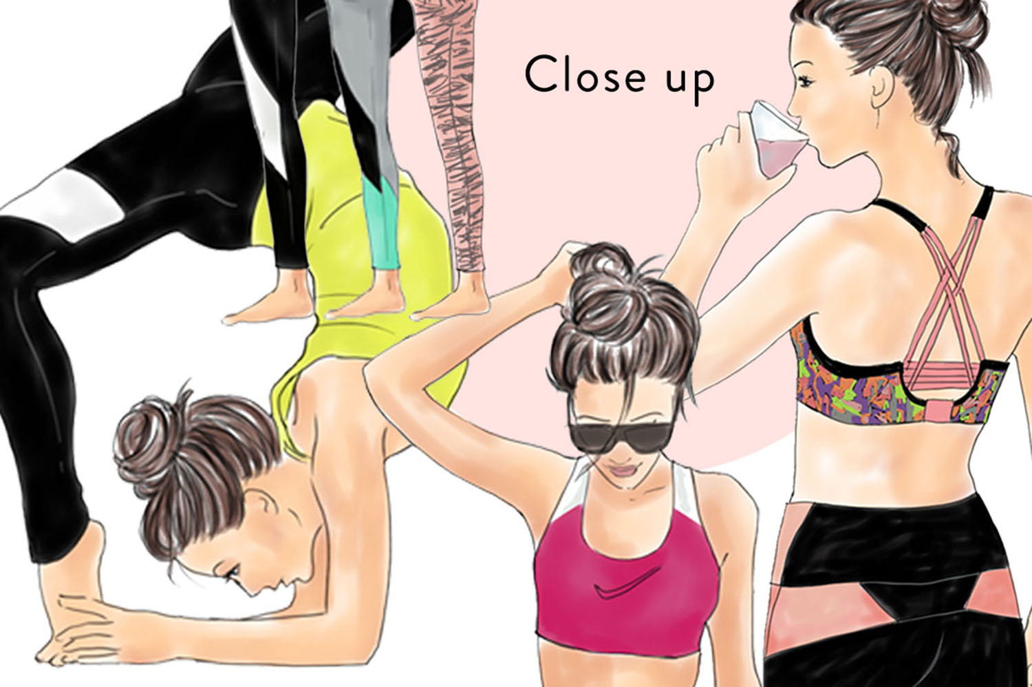 Yoga girls watercolour illustrated clipart example image 3