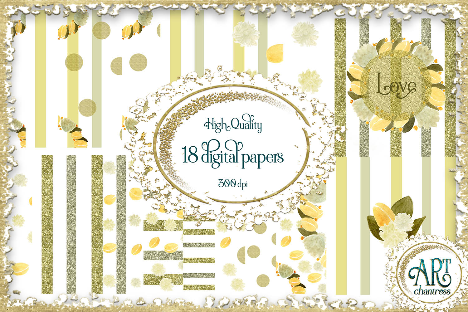 Watercolour floral digital papers frames wreath JPEG 12/12 example image 1