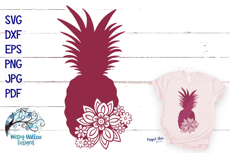 Floral Pineapple SVG | Summer SVG Cut File example image 1