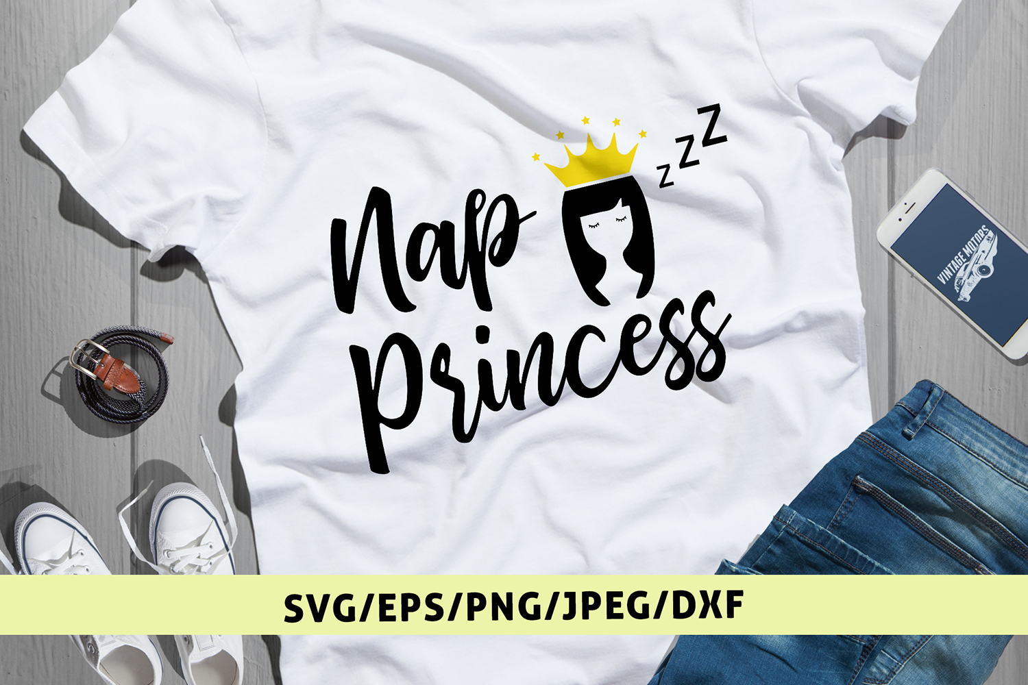 Nap Princess - Daughter SVG EPS DXF PNG Cutting Files example image 1