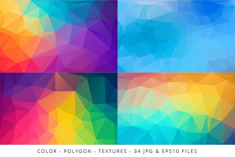 Colorful Low Poly Geometric Digital Papers Eps10 and JPG example image 5