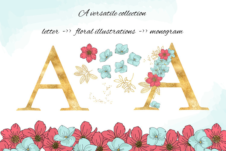 BLOOM Gold Floral Decorative Alphabet Number Set example image 3
