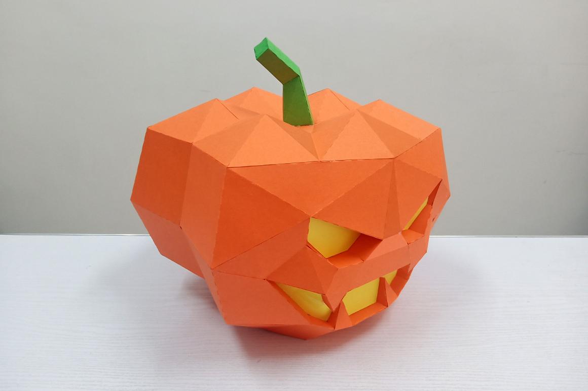 DIY Halloween Pumpkin lamp - 3d papercraft example image 5