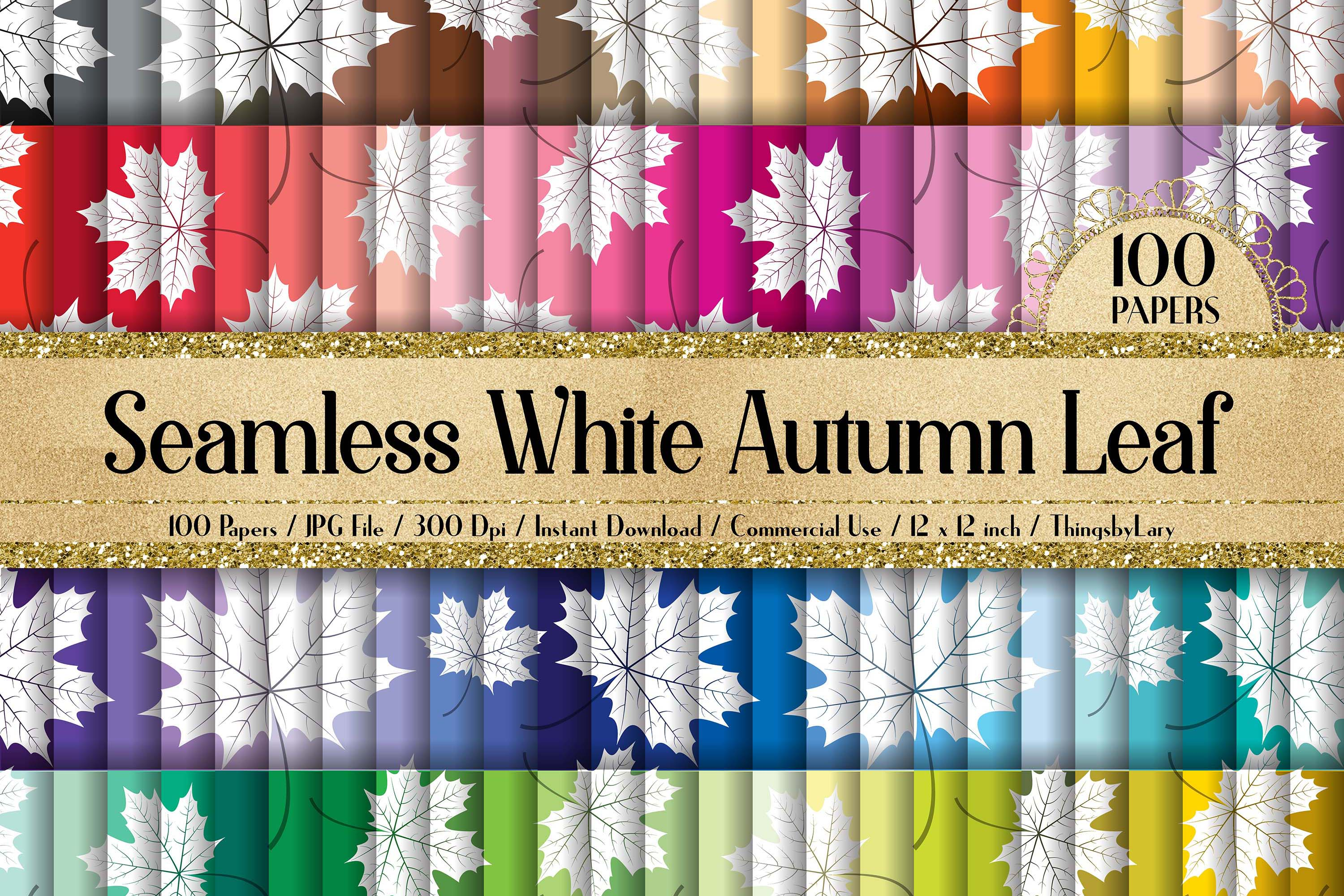 100 Seamless White Autumn Leaves Pattern Digital Papers example image 1