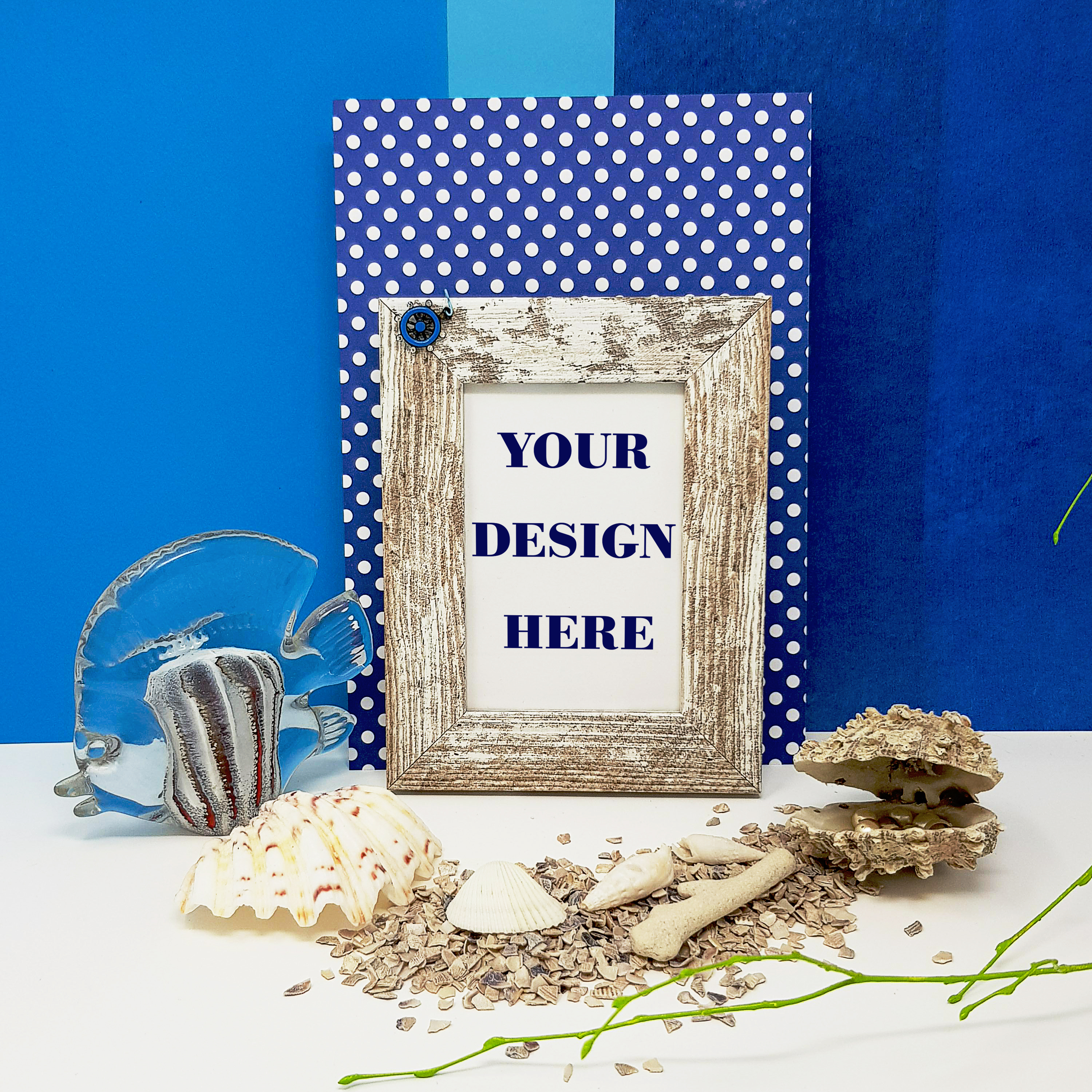Feminine Beach Frame Mockup with Fish and Shells example image 2