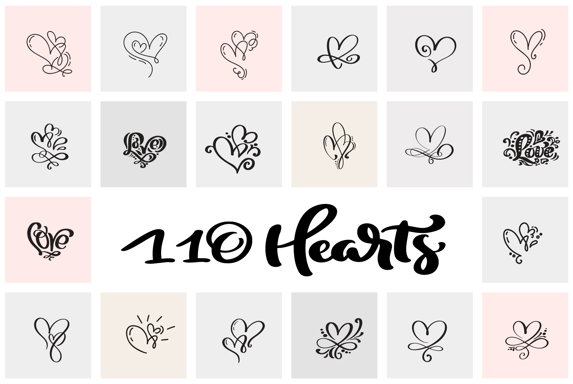 Valentine vector hand draw hearts SVG example image 2