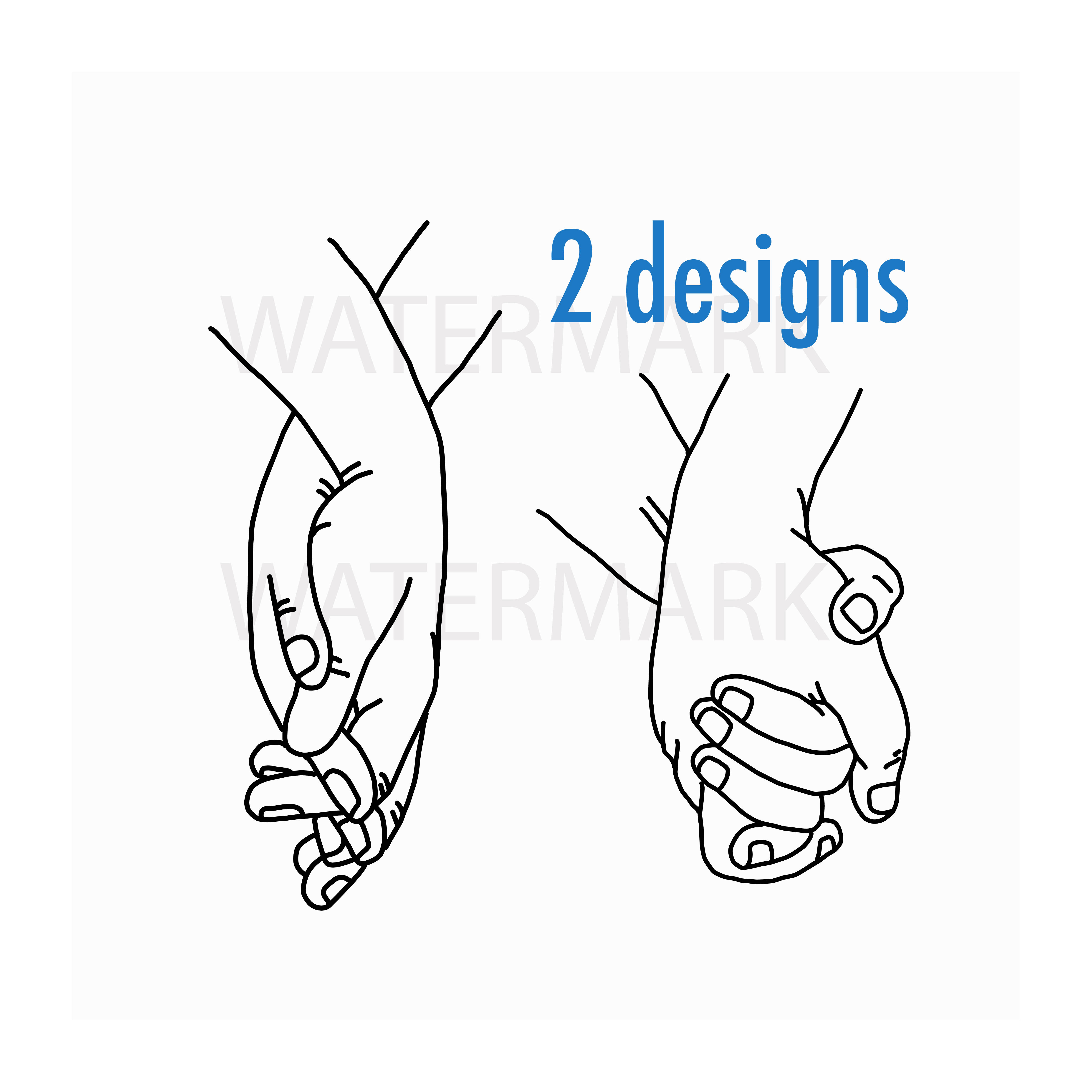 Holding Hand and walk along with love - SVG/JPG/PNG Hand Drawing example image 1