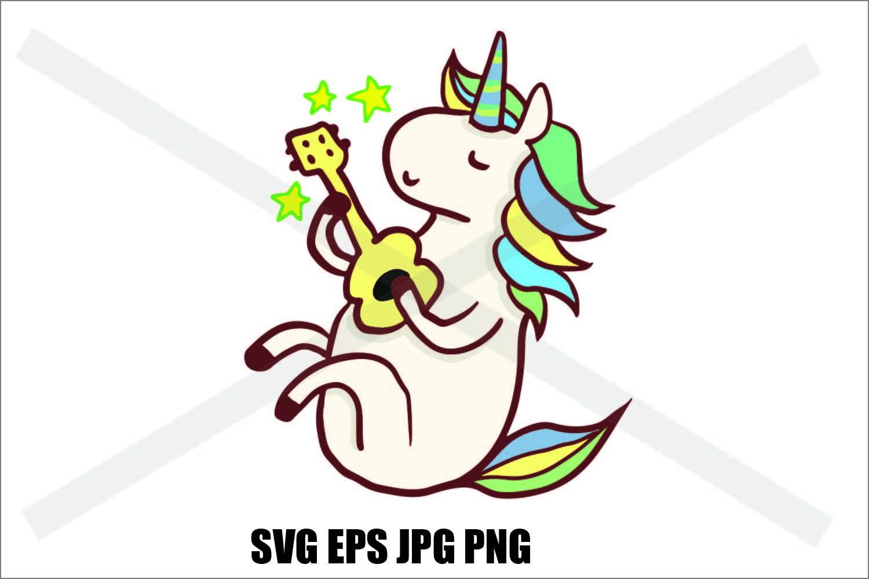Unicorn playing ukulele- SVG EPS JPG PNG example image 2
