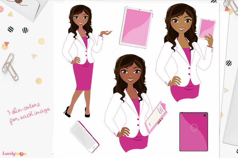 Woman business character clip art L112 Bliss example image 1