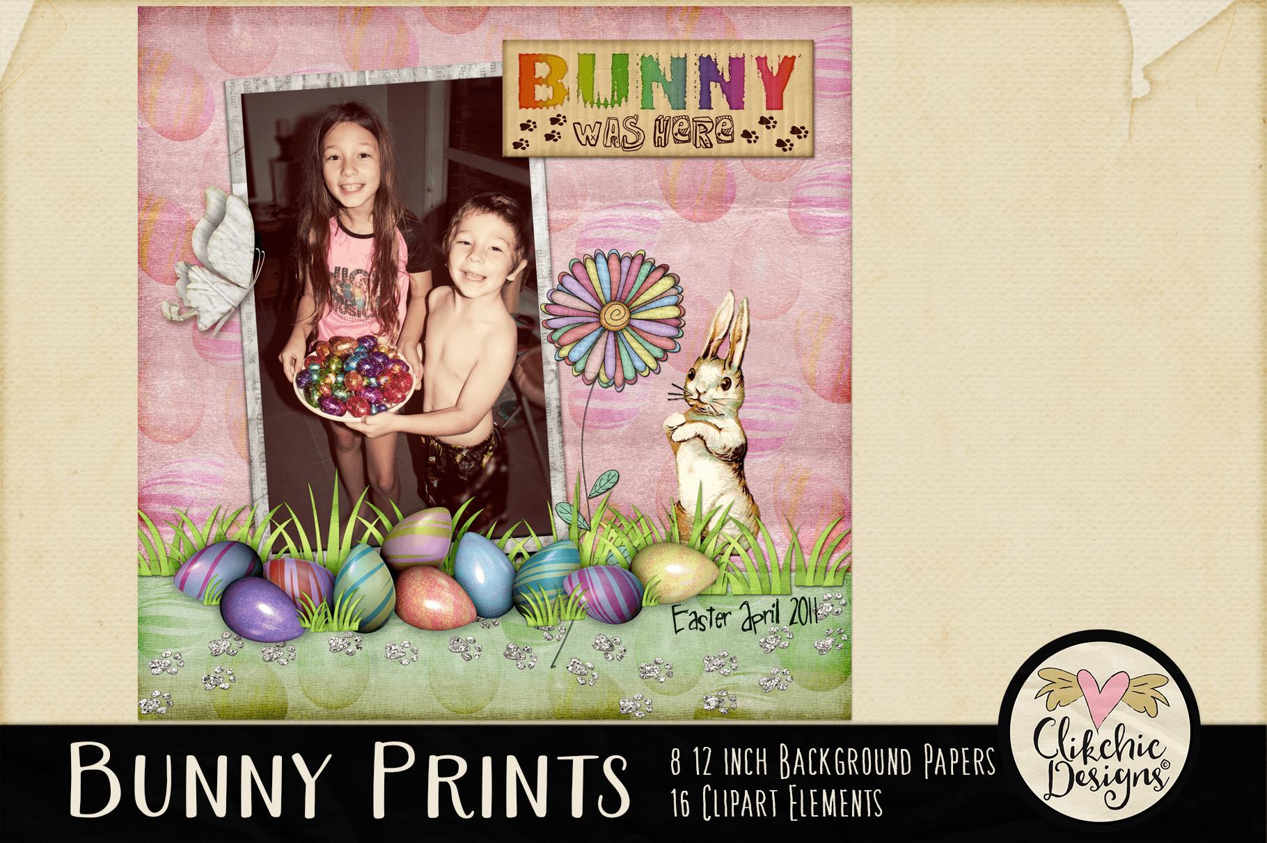 Easter Digital Scrapbook Kit - Bunny Prints Spring Clipart example image 4