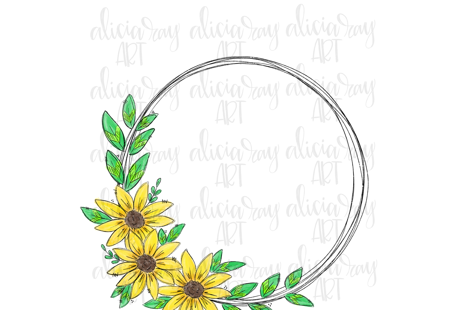 Sunflower Wreath Sublimation PNG Digital example image 1