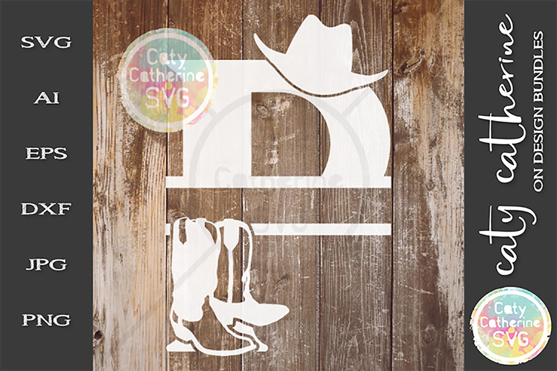 Letter P Cowboy Monogram SVG Includes Cowboy Boots example image 1