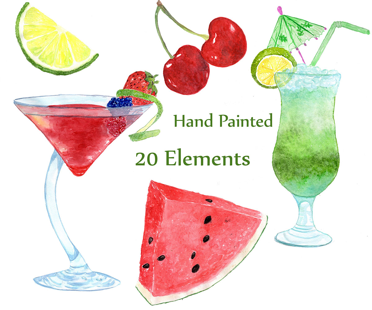Watercolor Cocktails clipart example image 3