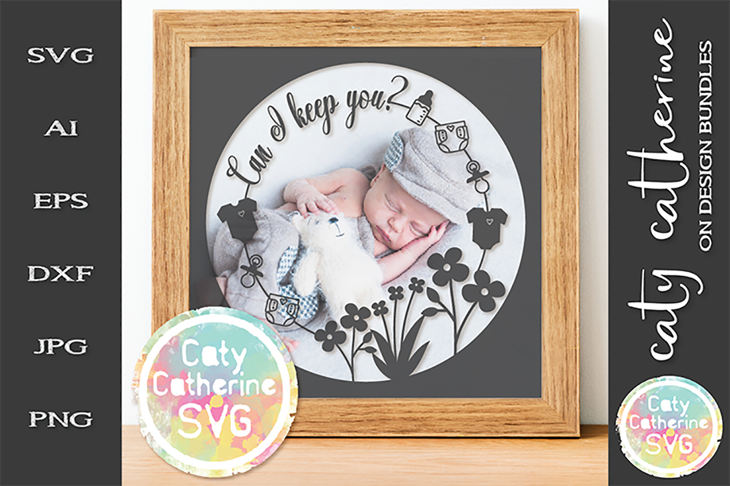 Can I Keep You? Baby Photo Frame SVG Cut File example image 1