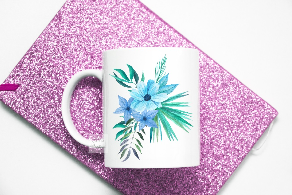 Mug mockup pink glitter flatlay sublimation cup mock up example image 4
