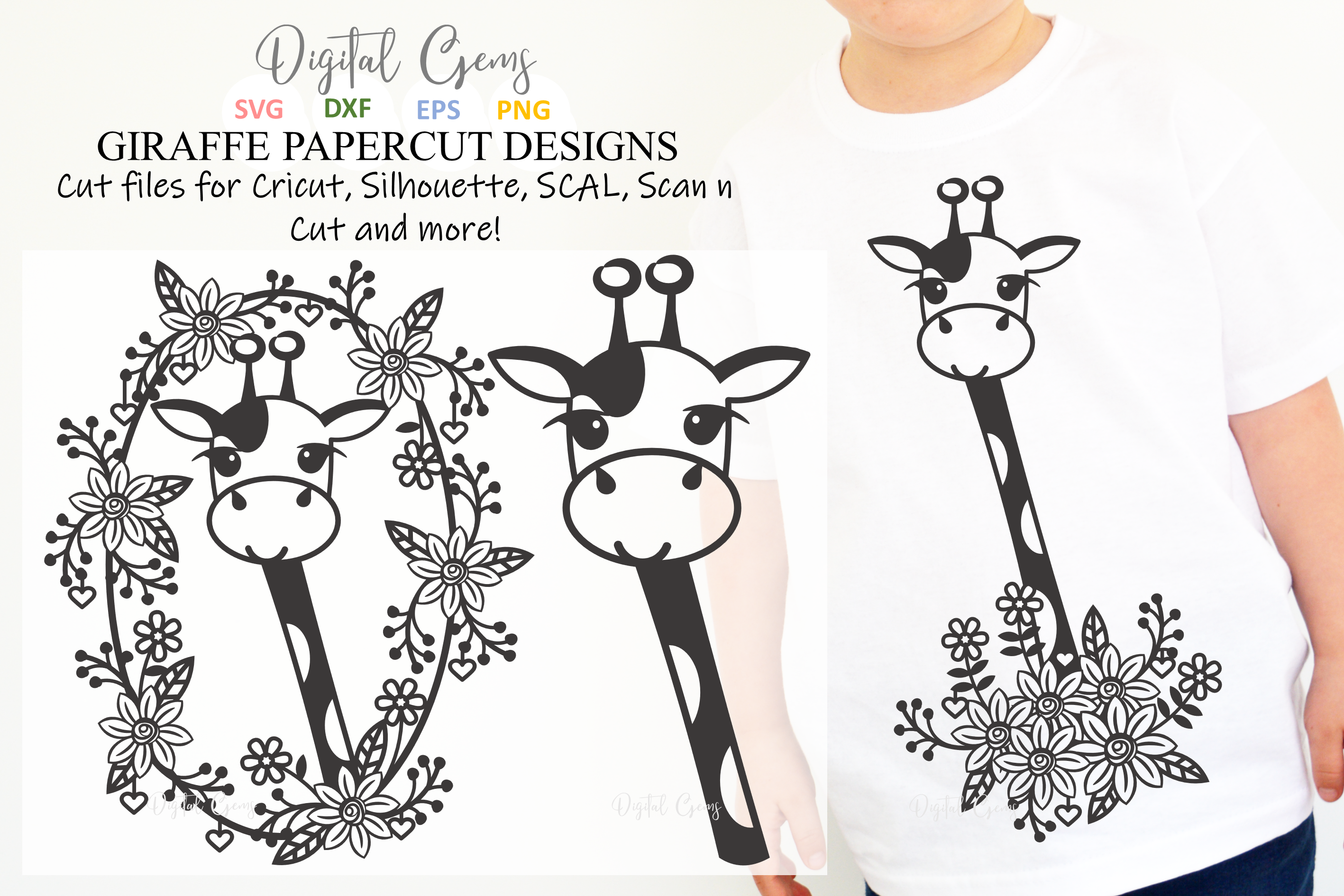 Giraffe paper cut designs SVG / DXF / EPS / PNG files example image 1