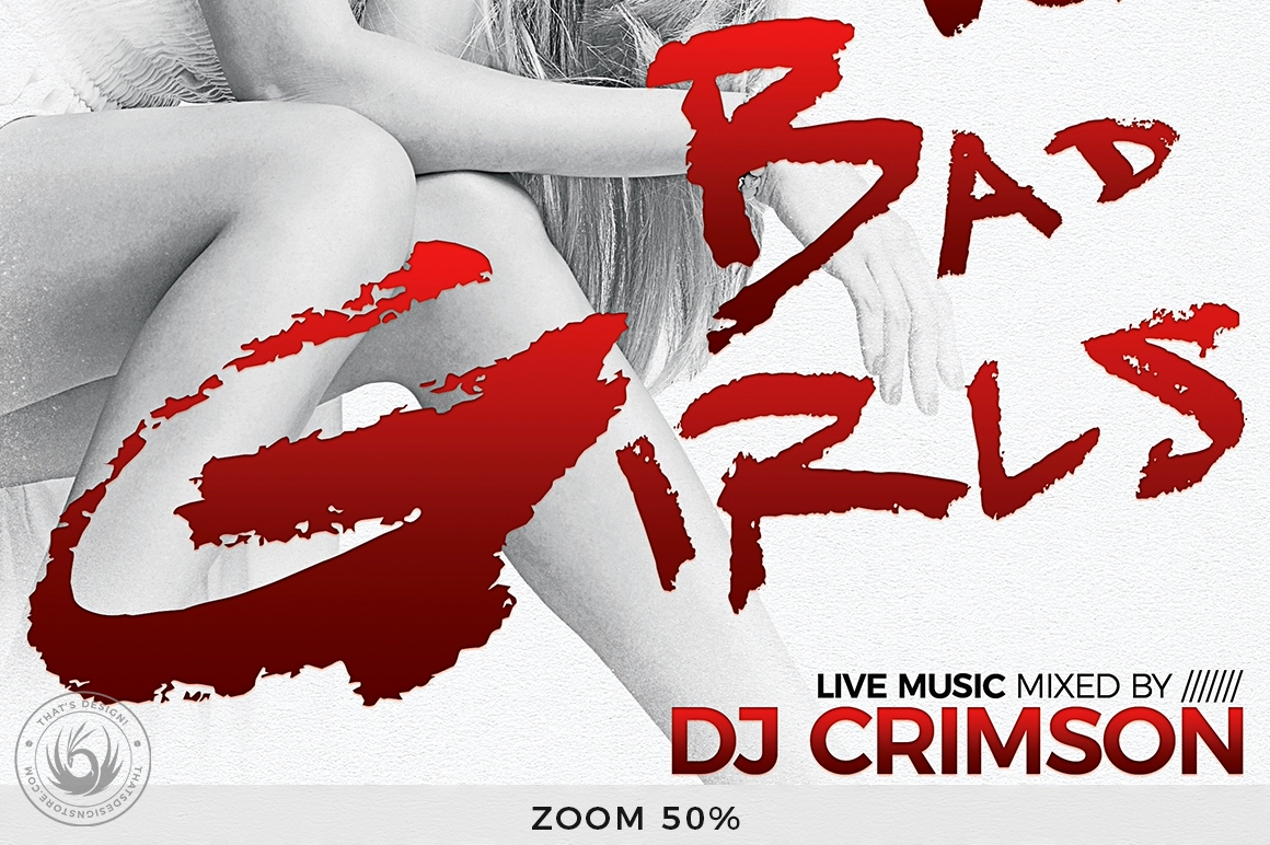 Bad Girls Flyer Template example image 8