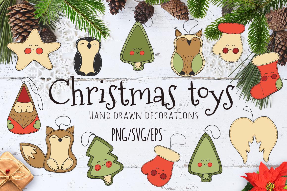 Christmas toys Hand drawn decorative Set example image 1
