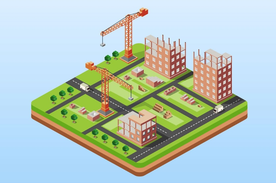 Industrial city building with construction cranes and buildi example image 1