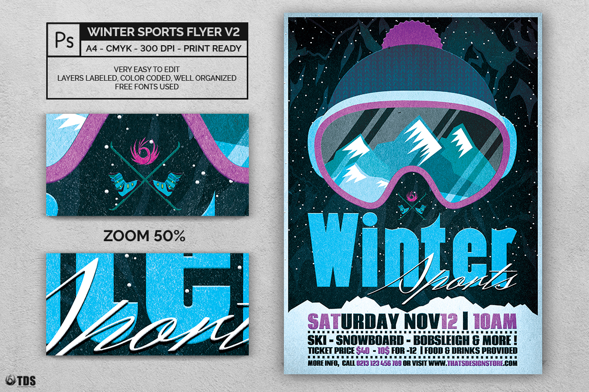 Winter Sports Flyer Template V2 example image 2