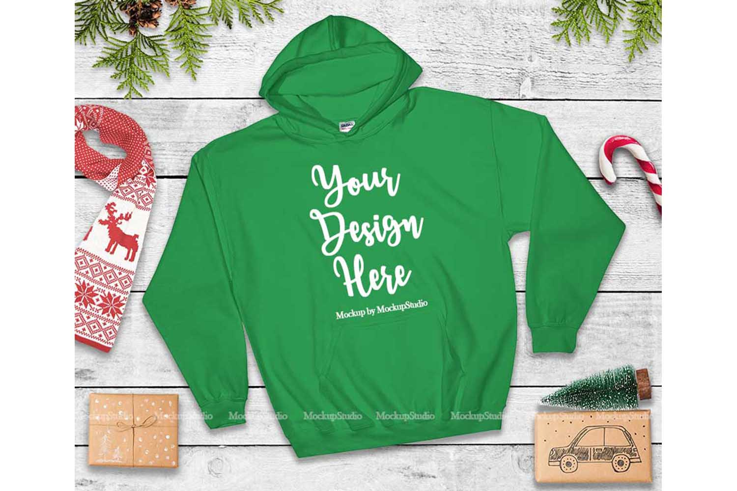 Christmas Green Hoodie Mockup, Winter Holiday Flat Lay example image 1