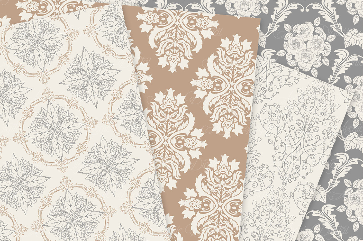 28 Neutral Damask Patterns - Wedding Seamless Digital Papers Bundle example image 8