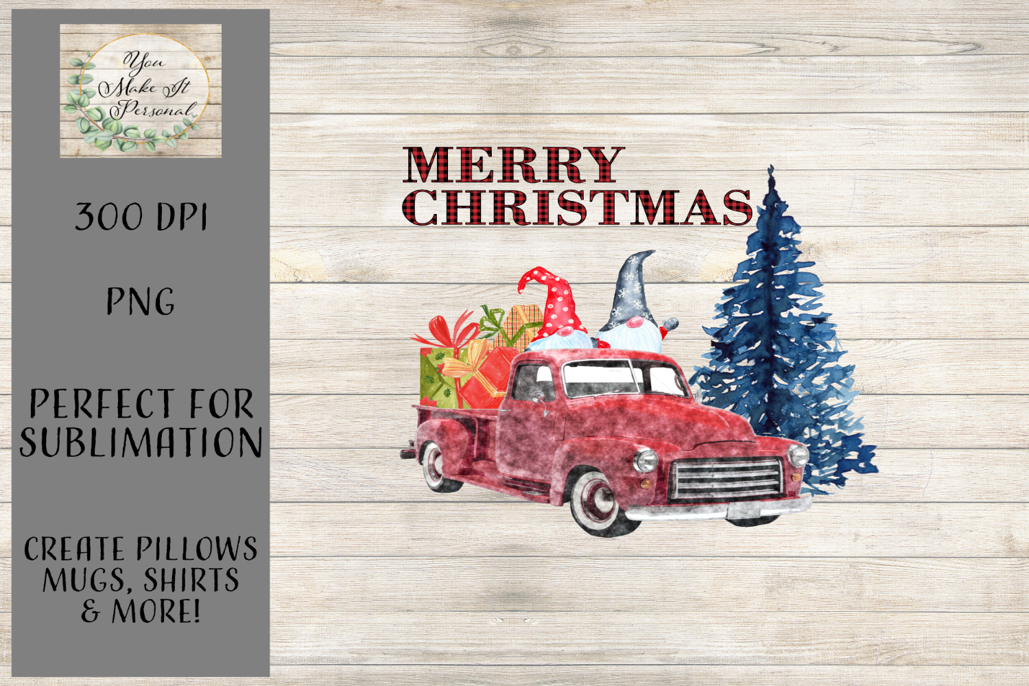 Gnomes In A Red Truck - Christmas Design example image 1