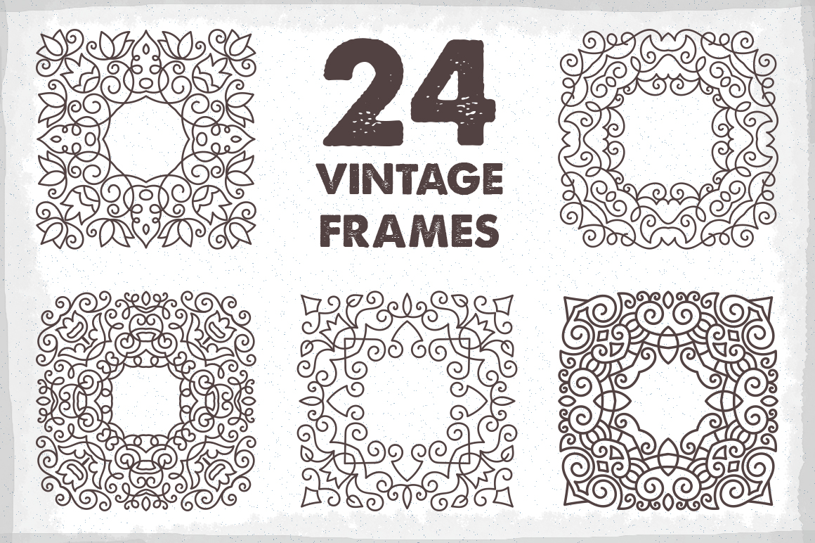 24 Vintage Vector Frames Collection example image 1