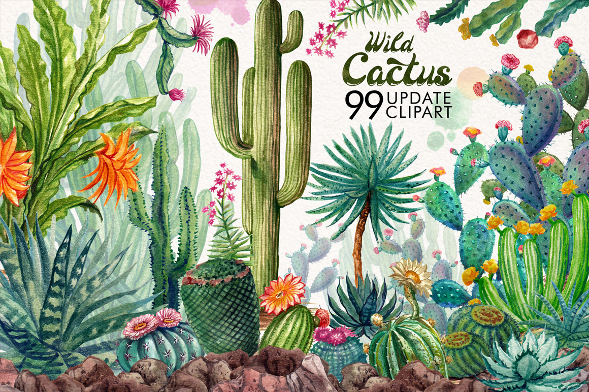Watercolor Cactuses example image 2