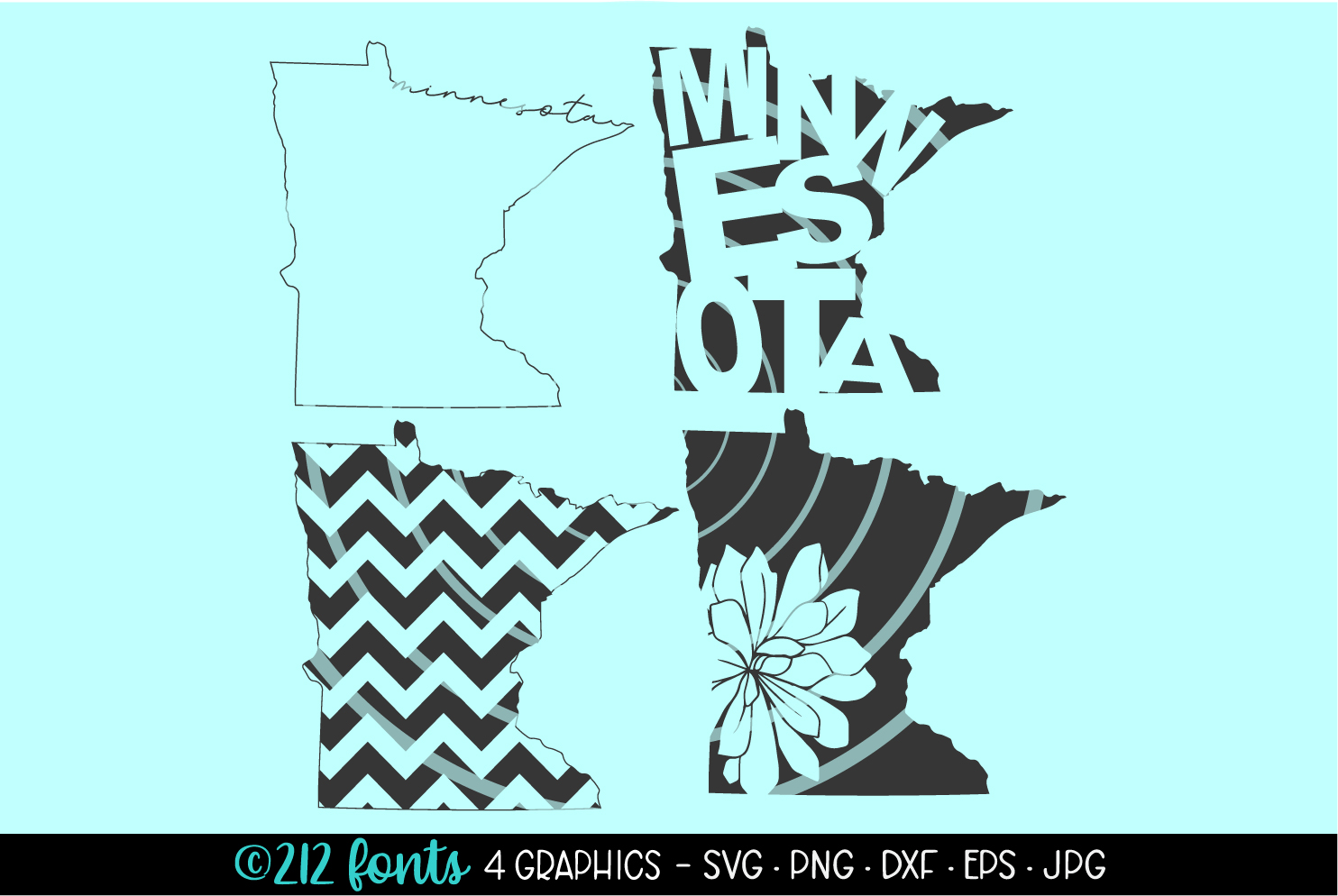 4 - Minnesota State Map Graphic Cut File DXF PNG JPG SVG EPS example image 1