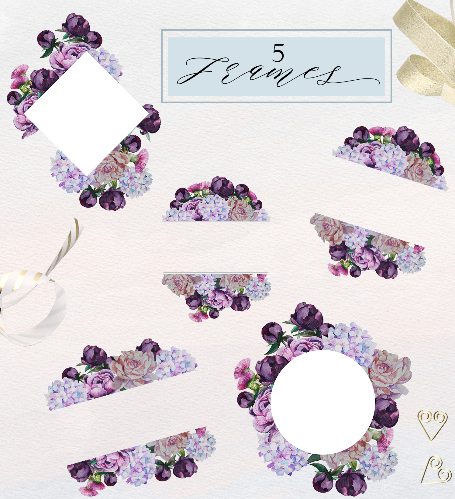 Romantic Peonies Hand Painted Clip Art Set example image 7