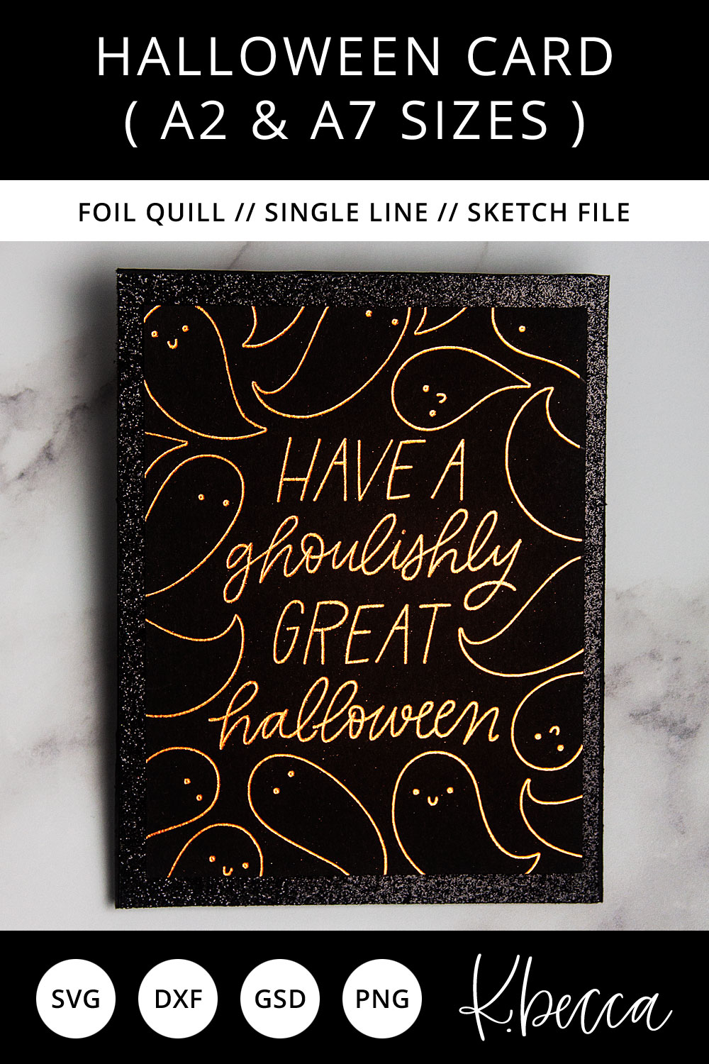 Foil Quill Sketch Halloween Card SVG - A2 & A7 Sizes example image 3