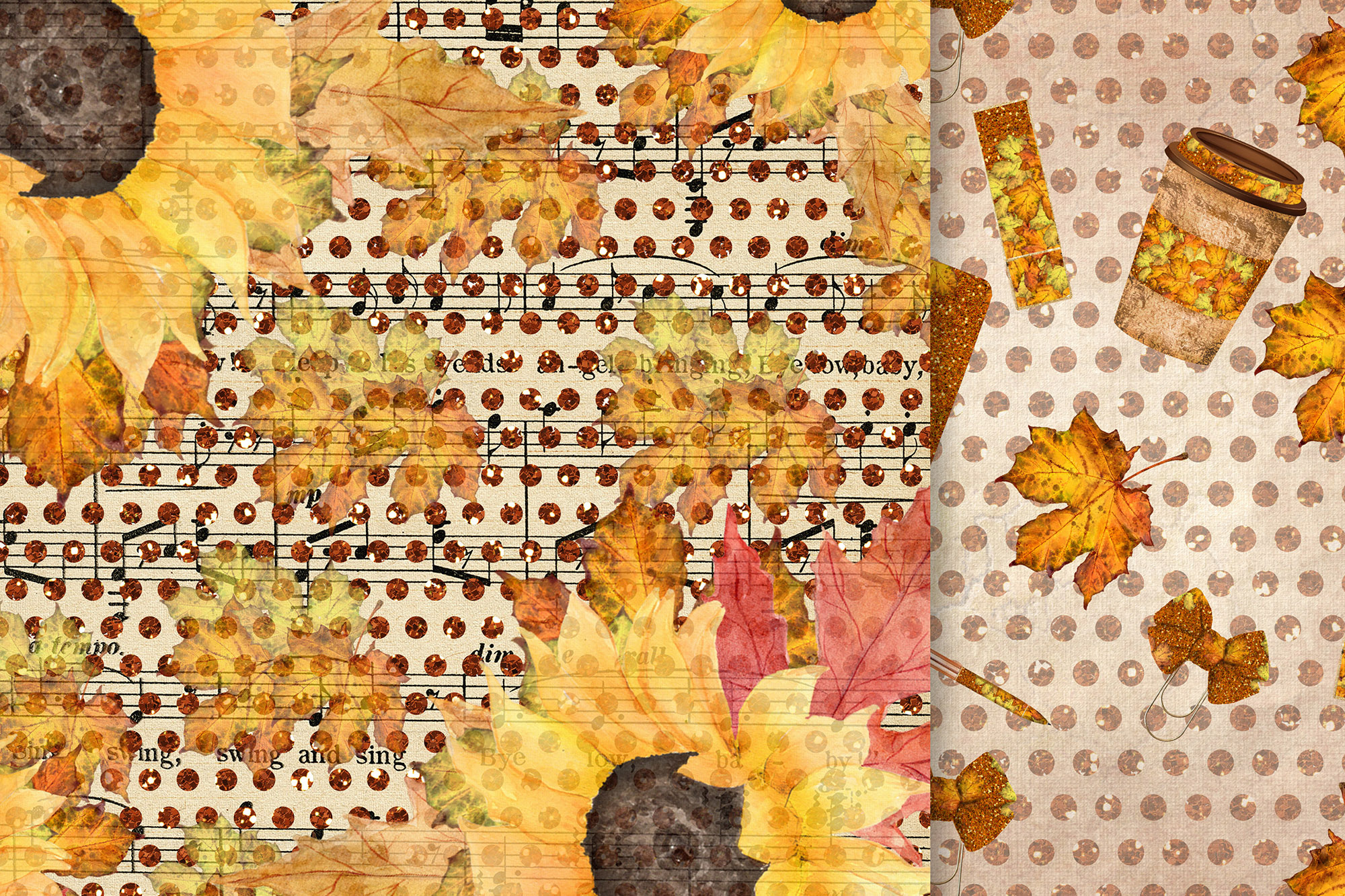 Fall digital papers, Sunflower papers,Autumn paper pack, 6x6 example image 3