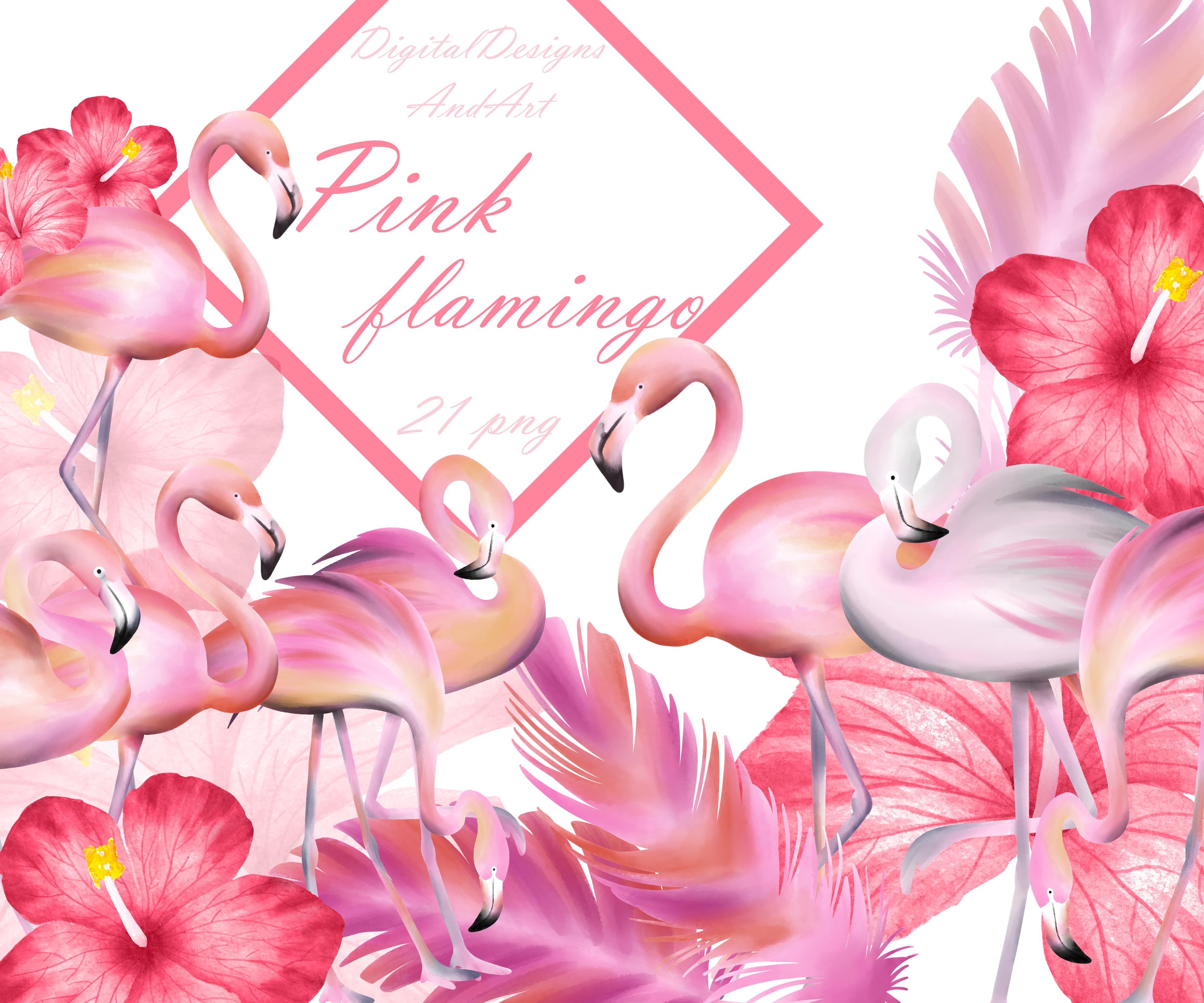 Pink flamingo clipart example image 1