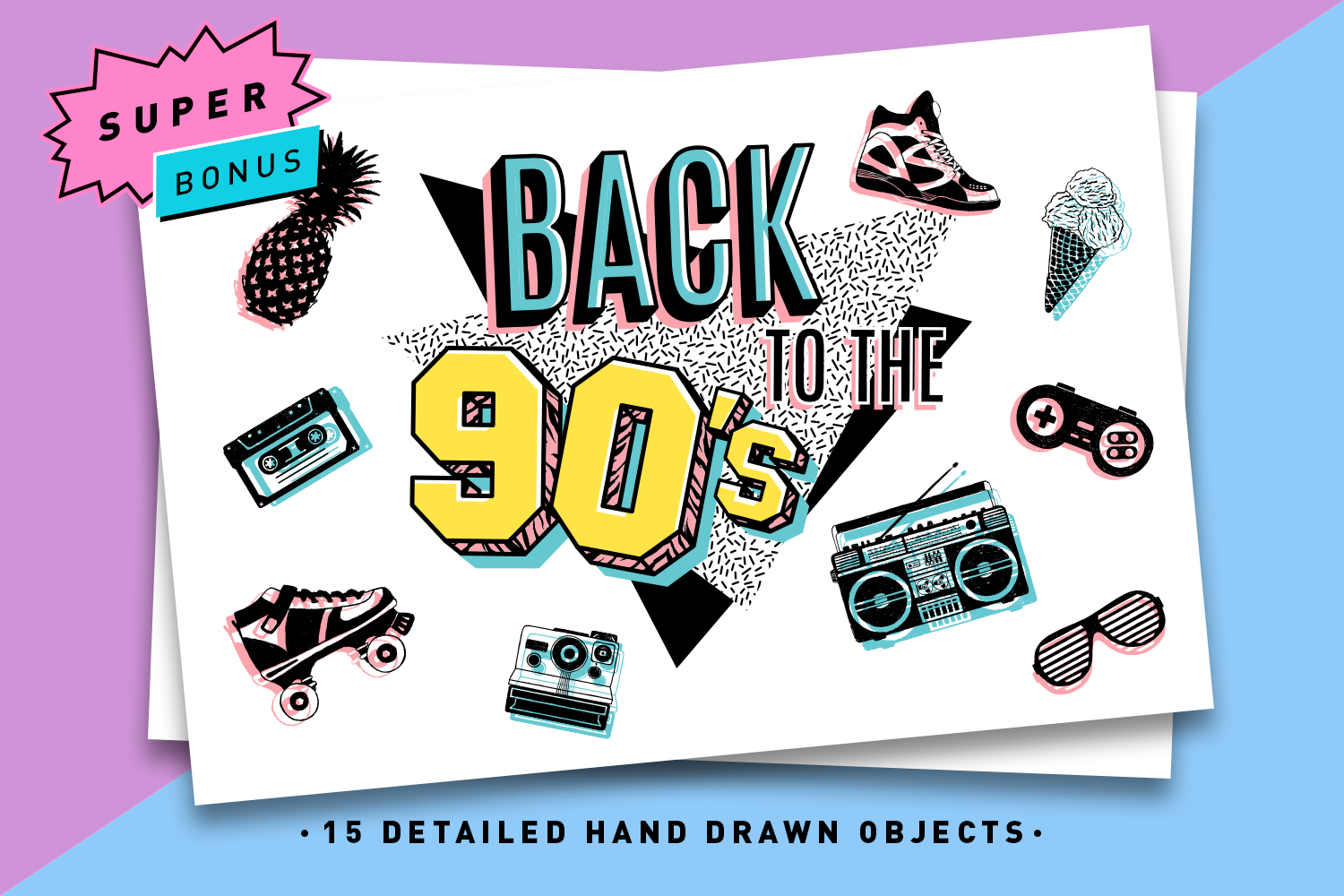 Back to the 90's. Hand Drawn Icons example image 1