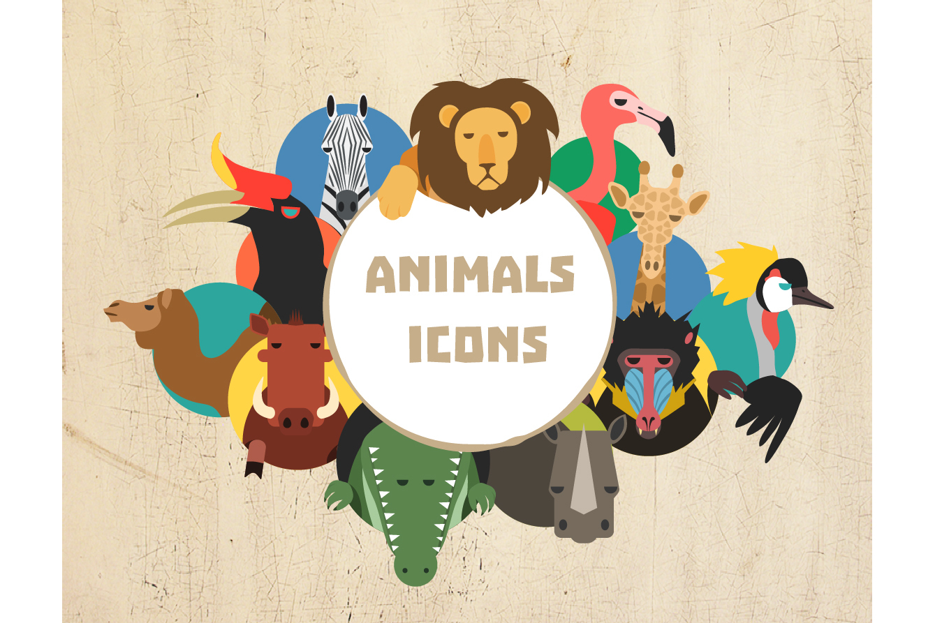 Vector African Animal 32 icons in 2 colors example image 1