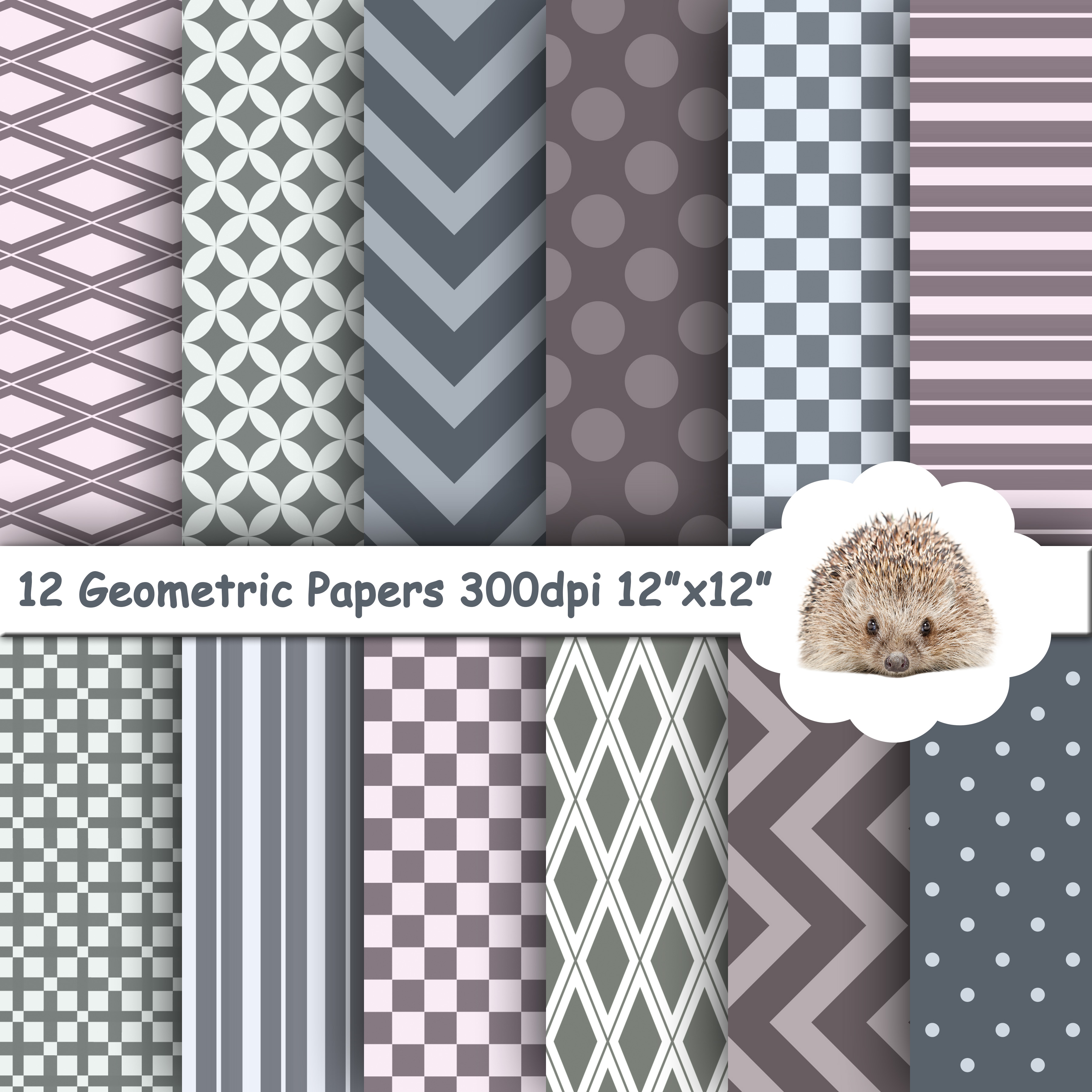 12 Grey and Purple Geometric Textured Papers / Backgrounds example image 1