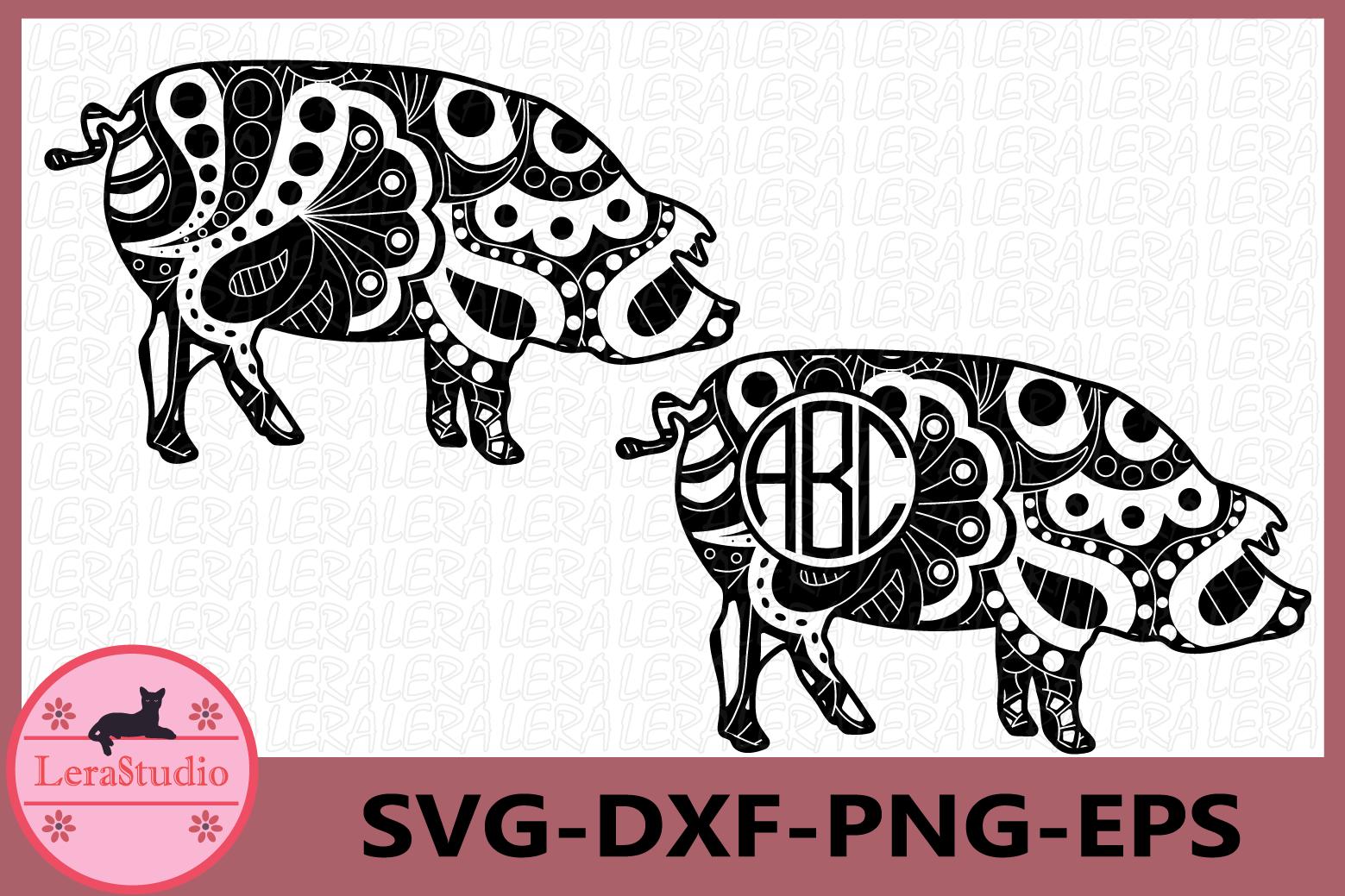 Pig Svg, Pig Zentangle SVG, Bacon Farm svg, Animals Svg example image 1