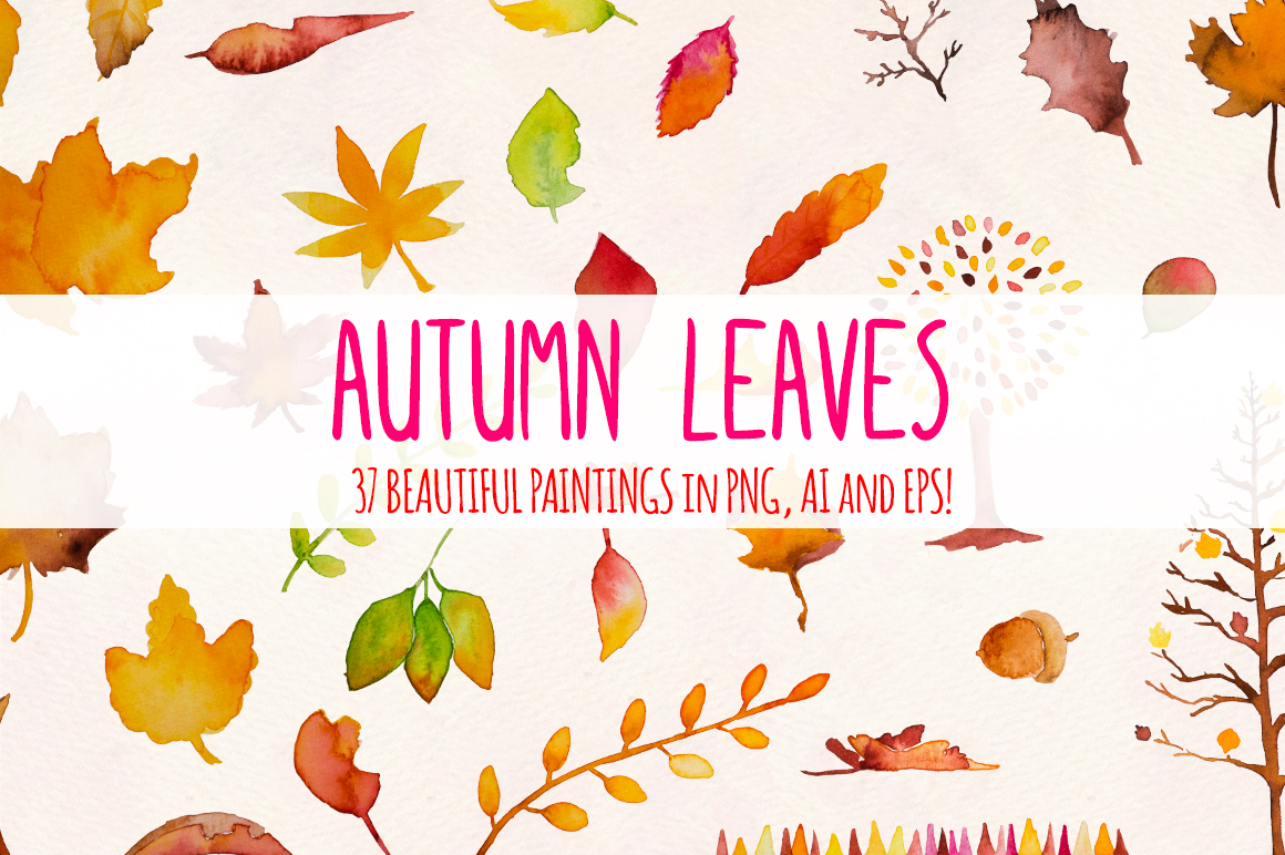 Autumn Leaves 37 Watercolor Elements example image 2