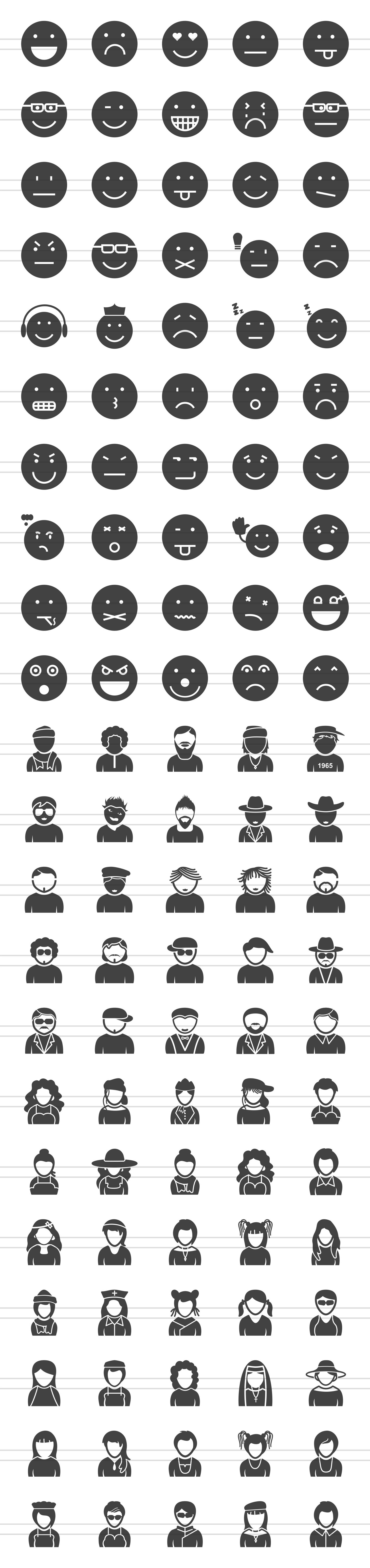 110 Avatars & Emoticons Glyph Icons example image 2