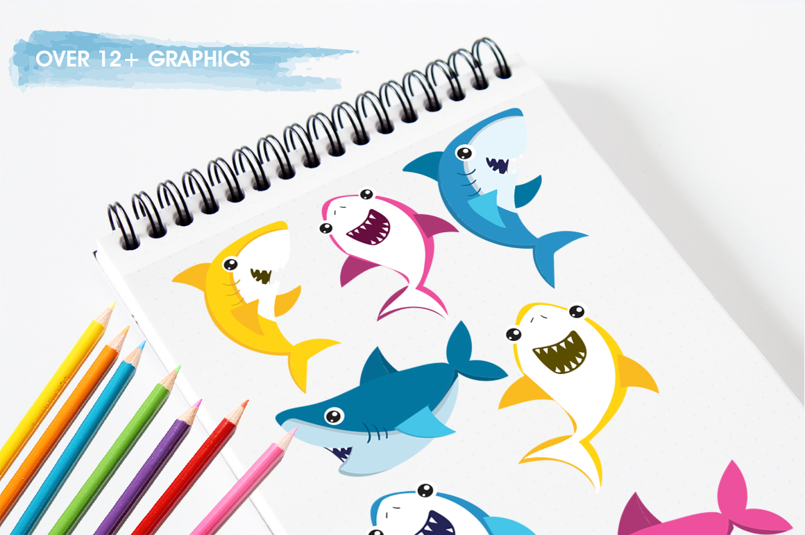 Baby Sharks graphic and illustrations example image 3