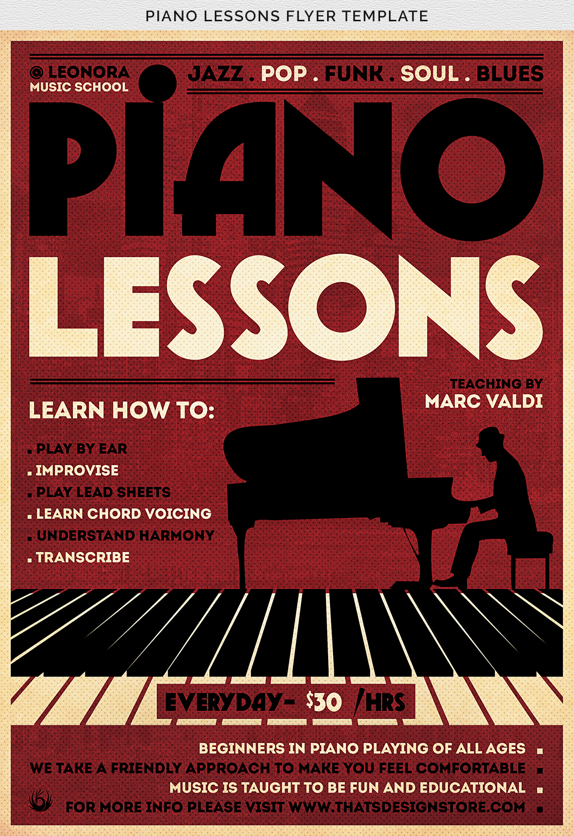 Piano Lessons Flyer Template example image 12