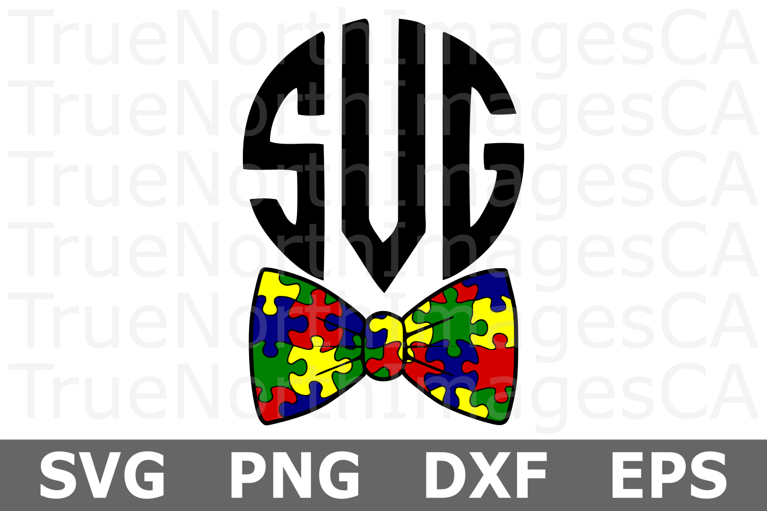 Puzzle Piece Bow Tie - An Autism Awareness SVG Cut File example image 2