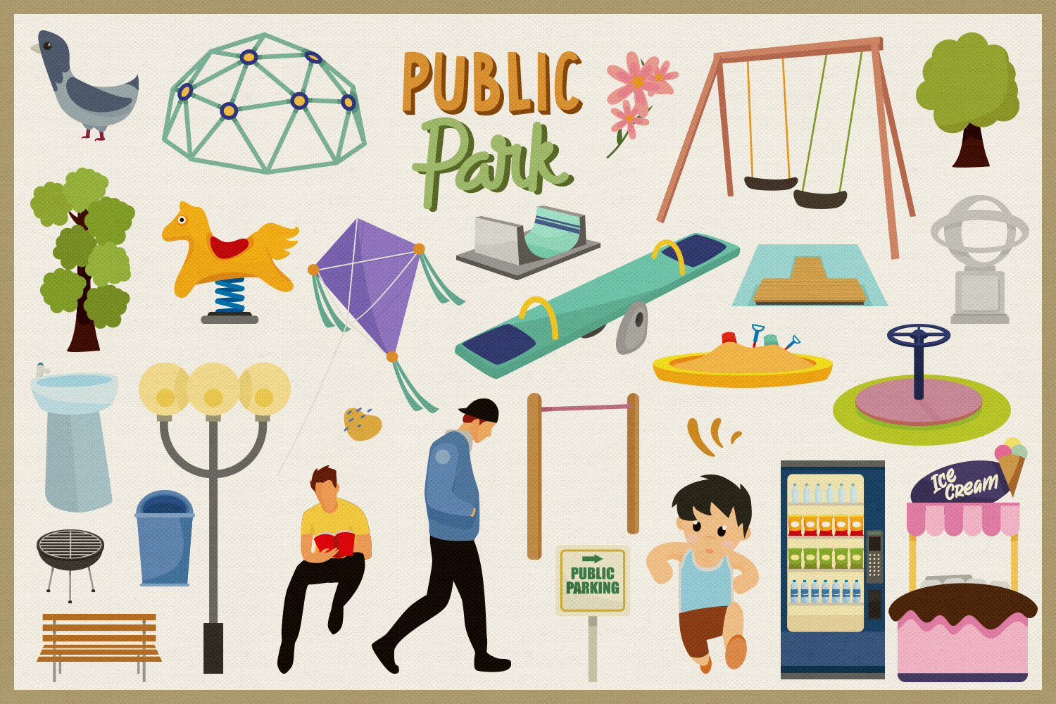 Public Park Vector Clipart and Seamless Pattern example image 4